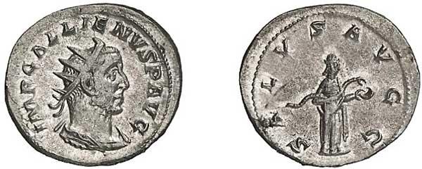 Gallienus (253–268). Antoninian 254/255,  Mzst. Viminacium. Büste mit Lorbeerkranz nach rechts, Umschrift: IMP GALLIENVS P AVG Rs. Salus nach rechts, eine Schlange aus einer Patera fütternd, Umschrift: SALVS AVGG
