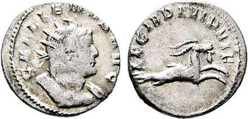 Gallienus (253–268). Antoninian 260/261, Münzstätte Mediolanum. Brustbild mit Strahlenkrone nach rechts, Umschrift: GALLIENUS AVG Rs.: Capricorn mit Umschrift: LEG I ADI VI P VI F