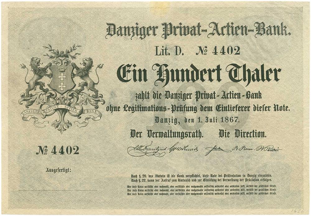 GK-434, Danziger Privat-Actien-Bank, 100 Thaler vom 1.6.1867