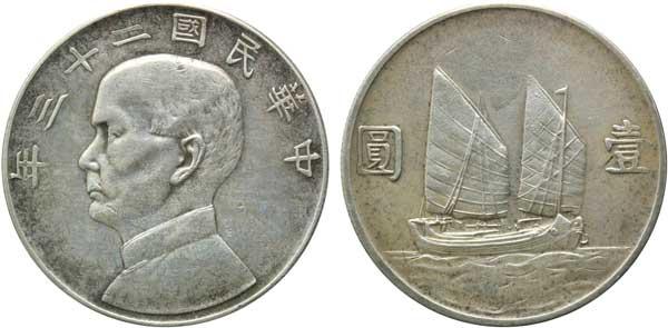 Abb. 1: 1 Dollar (1934), Sun Yat-sen, 880er Silber, 26,7 g, Ø 39 mm