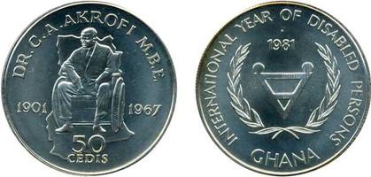 50 Cedis 1981, UN Internationales Jahr der Behinderten 1981, Silber 925er, 28,28 g, Ø 38,61 mm