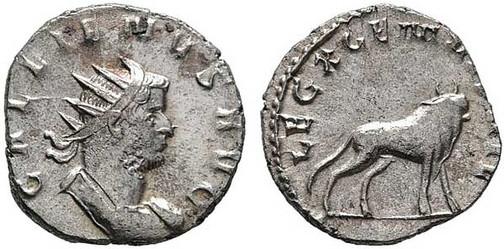 Gallienus (253–268). Antoninian 260/261, Münzstätte Mediolanum. Brustbild mit Strahlenkrone nach rechts, Umschrift: GALLIENUS AVG Rs.: Stier mit Umschrift:  LEG X GEM VI P VI F