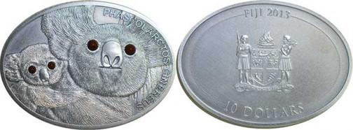 Abb. 5: 10 Dollars 2013, Koalabären, 999er Silber (antik patiniert), ovale Form,  31,10 g, Ø 38,00 mm, Münzstätte nicht bekannt