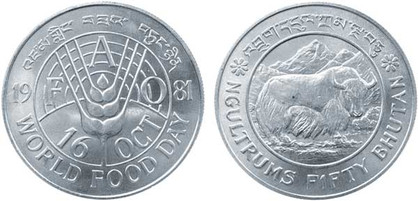 50 Ngultrum 1981, FAO-Welternährungstag, Silber 925/1000, 28,28 g, Ø 38,61 mm, 10 000 Exemplare