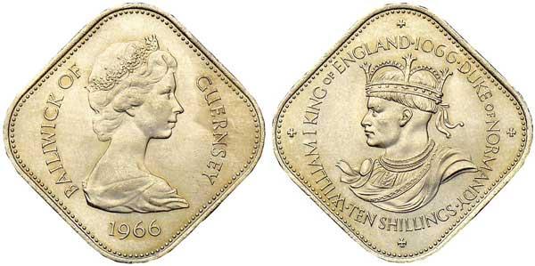 Vogtei (Bailiwick) Guernsey. 10 Shillings 1966 auf den  900. Jahrestag der Schlacht von Hastings. Auf der Rückseite der  Münze wird Wilhelm I. als König von England und Herzog der  Normandie dargestellt.