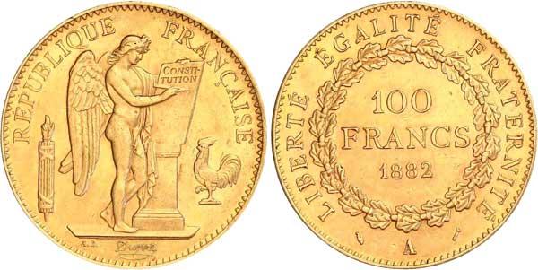 100 Francs 1882 A, Kursmünze,  Gold 900er, 32,2581 g, Ø 35 mm