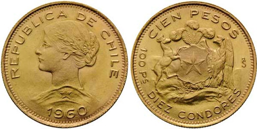 100 Pesos = 10 Cóndores 1960, 900er Gold, 20,3397 g, Ø 31 mm