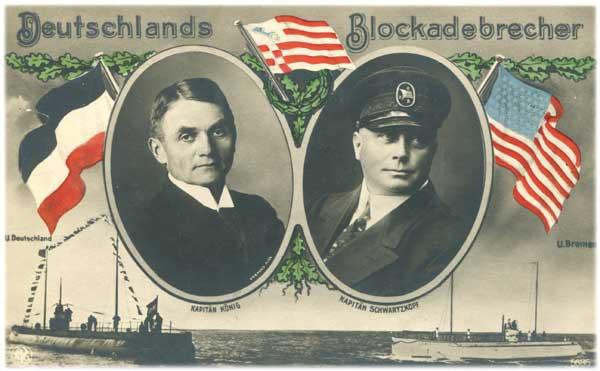 """Propaganda-Postkarte """"Deutschlands Blockadebrecher"""" mit den Bildnissen der beiden Kapitäne Paul König und Karl Schwartzkopf"""
