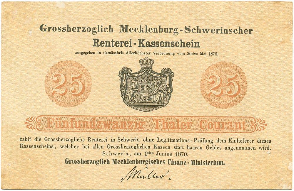 GK-207: Großherzoglich Mecklenburgisches Finanz-Ministerium, 25 Thaler vom 1.6.1870, Probedruck