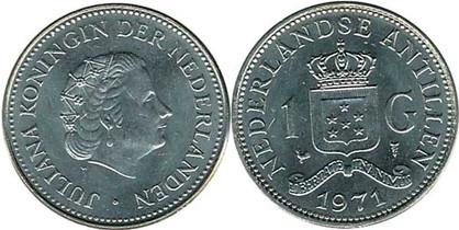 1 Gulden 1971, Kursmünze, Nickel, 9,00 g,  Ø 28,00 mm, Münzstätte Koninklijke Nederlandse Munt in Utrecht.
