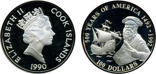 Abbildung verkleinert 100 Dollars 1990, 500 Jahre Amerika (Ferdinand Magellan),  925er Silber, 168,14 g, Ø 65 mm