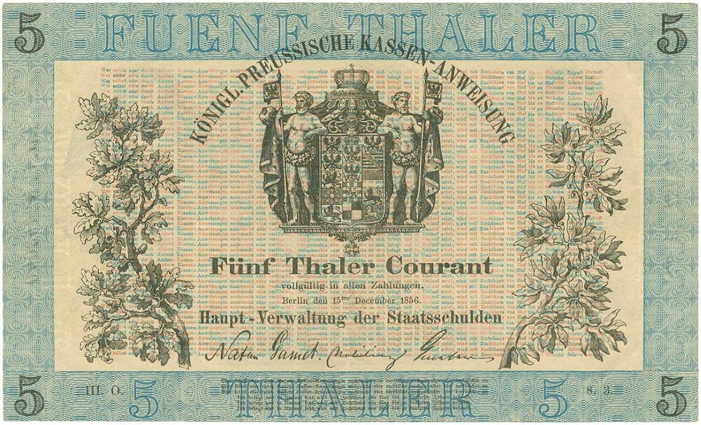 GK-288: Preußen, Haupt-Verwaltung der Staatsschulden, 5 Thaler vom 14.12.1856