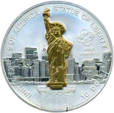 10 Dollars 2006, Bauwerke der Welt – Freiheitsstatue vor New York, 999er Silber, 31,10 g, Ø 38,61 mm, mit ausstellbarem vergoldetem Inlay aus 925er Silber, 4 g