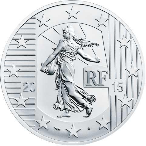 10 Euro 2015, Säerin, 14. Ausgabe – Schlacht von Poitiers/  1. Französischer Franc, Silber 900er, 22,20 g, Ø 37 mm