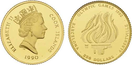 250 Dollars 1990, Olympische Sommerspiele 1992 in Barcelona und Olympische Winterspiele 1992 in Albertville,  999er Gold, 7,78 g, Ø ca. 25 mm