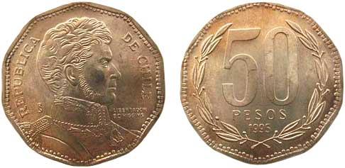 50-Pesos-Kursmünze 1995,  Al-Ni-Cu-Sn, zehneckig, 7 g, Ø 25 mm