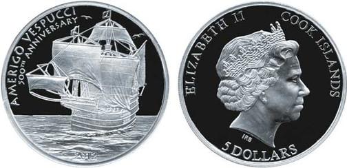 5 Dollars 2012, 500. Todestag von Amerigo Vespucci,  925er Silber, 20 g, Ø 38,61 mm