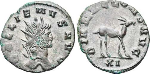 Gallienus (253–268). Antoninian 267/268, Münzstätte Rom. Brustbild mit Strahlenkrone nach rechts, Umschrift: GALLIENUS AVG Rs.: Gazelle mit Umschrift: DIANAE CONS AVG