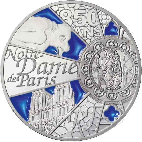 """10 Euro 2013, UNESCO-Welterbe """"850 Jahre Notre Dame  de Paris"""", Silber 900er, Teilbereiche eingefärbt, 22,20 g,  Ø 37 mm"""