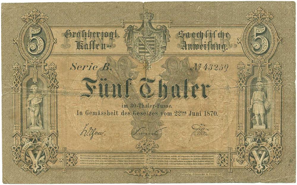 GK-643, Sachsen-Weimar-Eisenach, 1 Thaler vom 22.6.1870