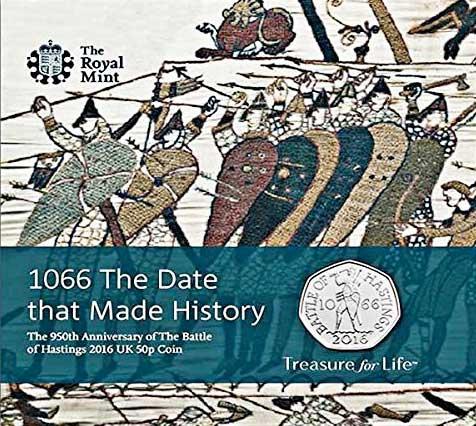 Das eingekapselte britische 50-Pence-Stück 2016 in Kupfernickel auf den 950. Jahrestag der Schlacht von Hastings in der offiziellen Verkaufsverpackung.