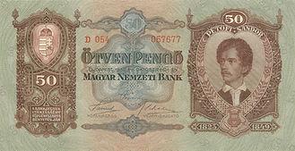 50 Pengö vom 1.10.1932, Vorderseite