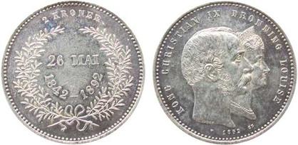 2 Kronen 1892, Goldene Hochzeit des Königspaars, Silber 800er, 15,00 g, Ø 30,00 mm