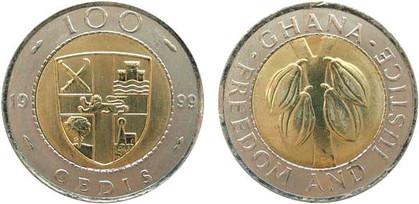 100 Cedis 1999, Kursmünze, unedles Bimetall, 6,9 g, Ø 26 mm