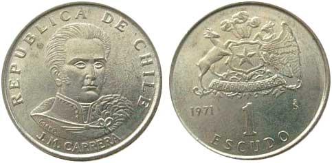 1 Escudo, Kursmünze 1971,  Cu-Ni-Zn, 2,75 g, Ø 19 mm