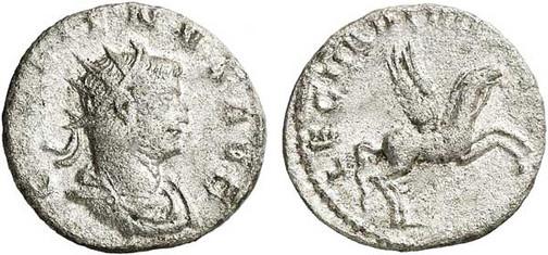 Gallienus (253–268). Antoninian 260/261, Münzstätte Mediolanum. Brustbild mit Strahlenkrone nach rechts, Umschrift: GALLIENUS AVG Rs.: Pegasus mit Umschrift:  LEG II ADI VI P VI F