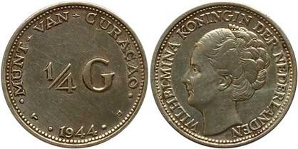 ¼ Gulden 1944, Kursmünze, 640er Silber, 3,575 g, Ø 19,00 mm, Münzstätte US-Mint Denver.