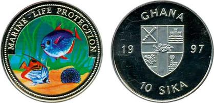 10 Sika 1997, Schutz der Meeresfauna, Kupfernickel,  Teilbereiche eingefärbt, 26,00 g, Ø 38,61 mm