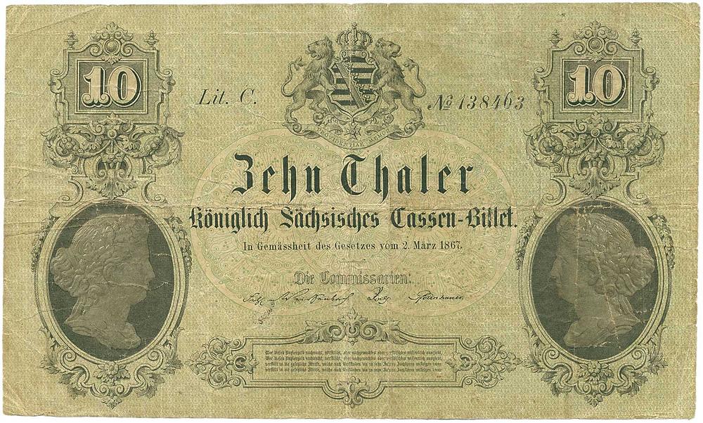 GK-464, Sachsen, 10 Thaler vom 2.3.1867