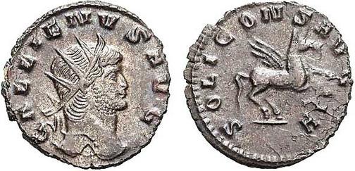 Gallienus (253–268). Antoninian 267/268, Münzstätte Rom. Brustbild mit Strahlenkrone nach rechts, Umschrift: GALLIENUS AVG Rs.: Pegasus mit Umschrift:  SOLI CONS AVG, AI  (= Kennzeichen der Offizin)