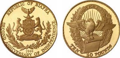 10 Pounds 1969, Gedenkmünze – 2. Jahrestag der Unabhängigkeit, Gold 916,67/1000, 39,94 g, Ø 40,00 mm (3000 Exemplare in PP)