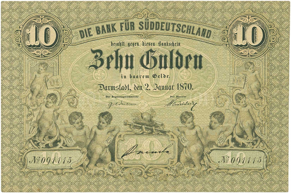 GK-155: Bank für Süddeutschland, 10 Gulden vom 2.1.1870