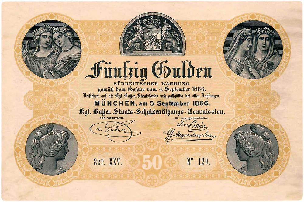 GK-72: Königlich Bayerische Staats-Schuldentilgungs-Commission, 50 Gulden vom 5.9.1866