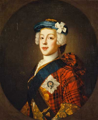 Bild des Bonnie Prince Charles in schottischer Tracht, gemalt  von dem schottischen Maler William Mosman um 1750.  Scottish National Gallery.
