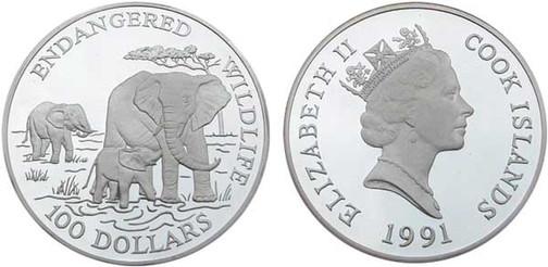 Abbildung verkleinert 100 Dollars 1991, Bedrohte Tierwelt, 999er Silber, 155,6 g, Ø 65 mm