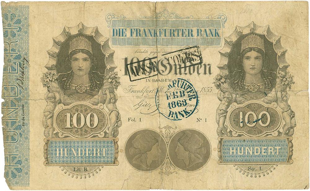 GK-115: Frankfurter Bank, 100 Gulden vom 1.1.1855