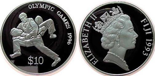 Abb. 3: 10 Dollars 1993, Olympische Spiele 1996 in Atlanta,  925er Silber, 31,47 g, Ø 38,61 mm, Münzstätte [British] Royal Mint