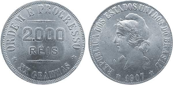 2000 Reis 1907, Kursmünze,  Silber 900/1000, 20,00 g, Ø 33 mm,  Auflage nicht bekannt
