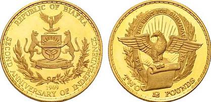 2 Pounds 1969, Gedenkmünze – 2. Jahrestag der Unabhängigkeit, Gold 916,67/1000, 7,98 g, Ø 22,00 mm (3000 Exemplare in PP)