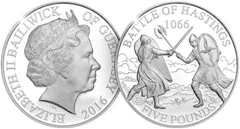 Vogtei (Bailiwick) Guernsey. 5 Pfund 2016 auf den 950. Jahrestag  der Schlacht von Hastings.