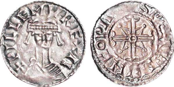 Wilhelm I. (1066–1087). Penny, geprägt 1068–1070. Bekröntes  Kopfbild von vorn, Münzstätte Wallingford, Münzmeister Sweartling. Umschrift: +PILLEMVS V REX II (A). Rückseite: Doppelkreuz, Umschrift: +SPEARLINC O PAL