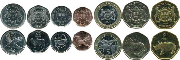 Kursmünzen von 5 Thebe bis 5 Pula – sieben Münzen (2001–2007), diverse unedle Metalle, in Normalprägung