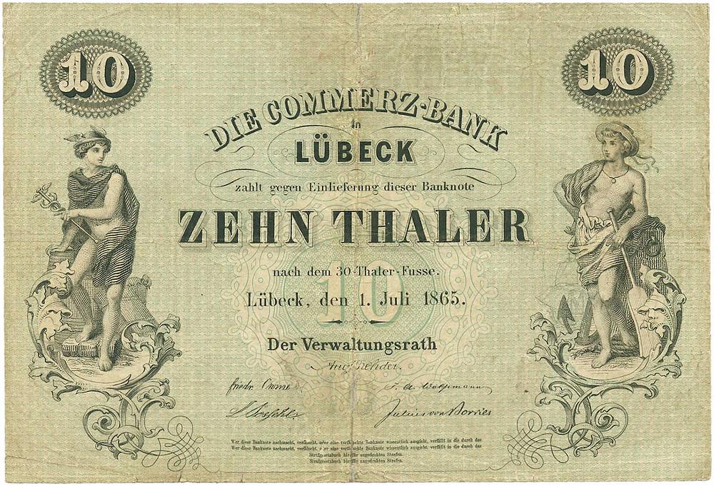 GK-183: Commerz-Bank zu Lübeck, 10 Thaler vom 1.7.1865