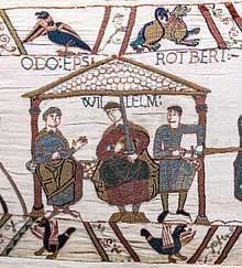 Ausschnitt aus dem Teppich von Bayeux, in der Mitte Wilhelm der Eroberer, links und rechts seine Halbbrüder Odo von Bayeux und Robert