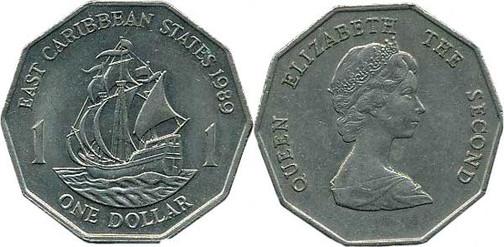 1 Dollar 1989, East Caribbean States, Kursmünze,  7,98 g, Ø 26,5 mm, Münzstätte British Royal Mint