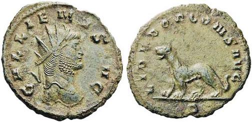 Gallienus (253–268). Antoninian 267/268, Münzstätte Rom. Brustbild mit Strahlenkrone nach rechts, Umschrift: GALLIENUS AVG Rs.: Panther mit Umschrift:  LIBERO P CONS AVG